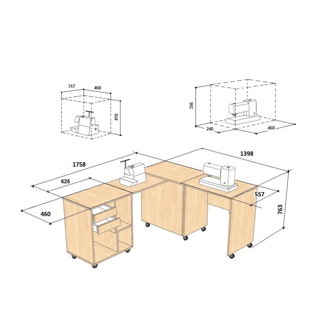 Швейный стол с размерами